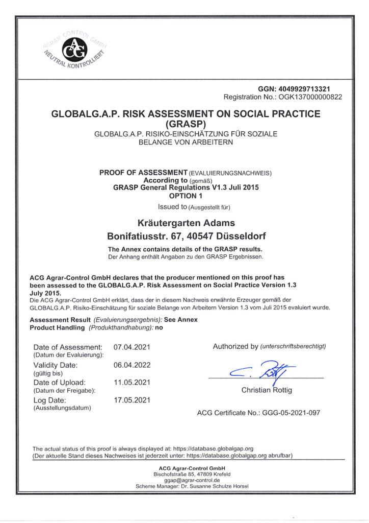 Zertifikat ACG Agrar Control Assessment Result